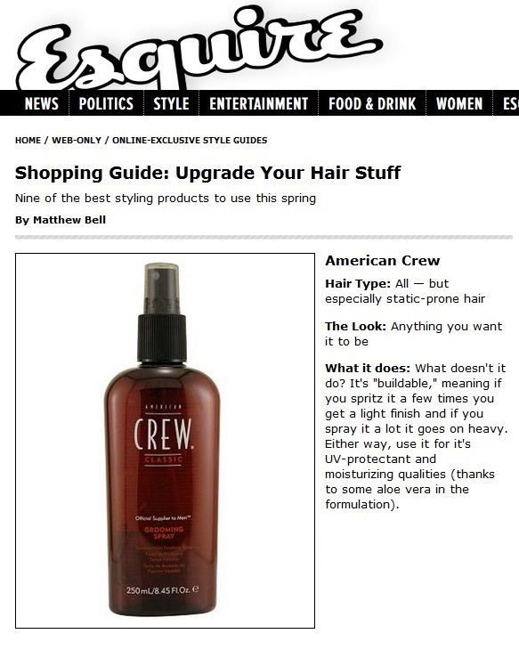 American Crew Grooming Spray Featured in Esquire