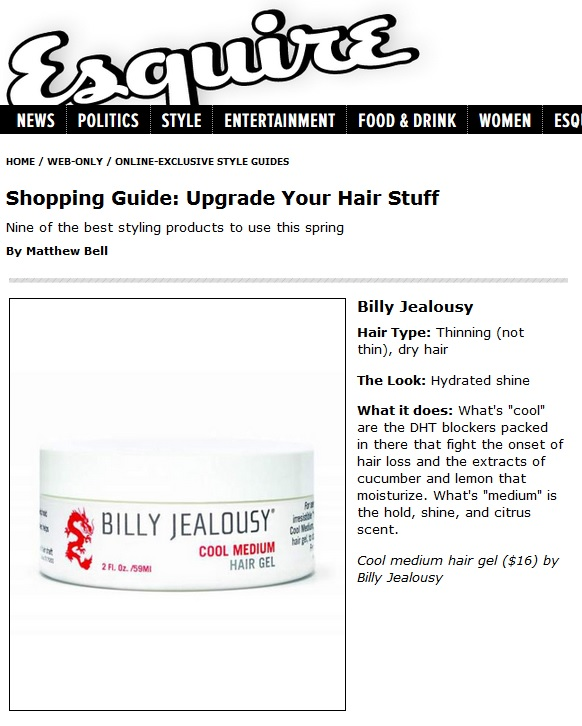Billy Jealousy featured in Esquire Magazine