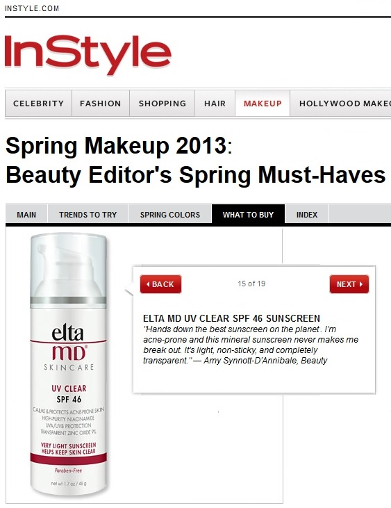 EltaMD UV Clear featured in InStyle