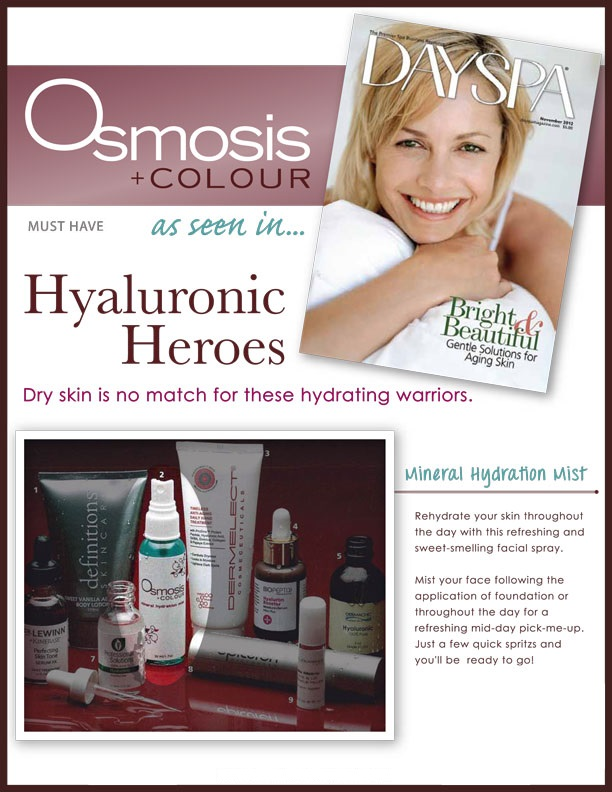 Osmosis Colour Mineral Hydration Mist featured in DaySpa Magazine